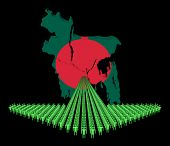 Arrow of people with Bangladesh map flag illustration