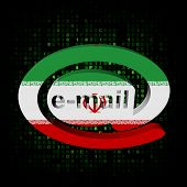 e-mail address AT symbol with Iranian flag on hex illustration