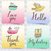 Four concept cards stickers in cartoon style. Whale, owl, bird and ship with stylish text in vector