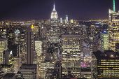 Aerial View Of New York At Night. Hdr Image