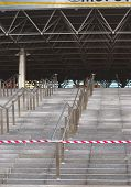 Minsk, Belarus - April, 26:Stairs to the Main Entrance of Minsk-Arena Ice-Hockey Championship Dome
