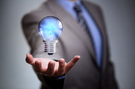 pic of illuminated  - Businessman with illuminated light bulb concept for idea - JPG