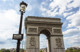 stock photo of bonaparte  - The triumphal arch at the beginning of the Avenue des Champs - JPG
