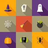 Halloween Squared Flat Icons Set 4