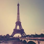 View of Eiffel tower in Paris. Vintage style.