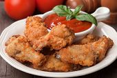 foto of southern fried chicken  - Southern fried chicken wings with barbecue sauce - JPG
