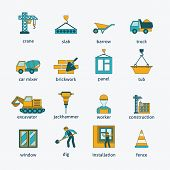 Construction icons flat line set