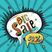 pic of big-bang  - Big sale sketch advertising speech bubble chart cartoon comic book vector illustration - JPG