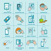 Digital health icons set flat line
