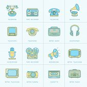 Retro Media Flat Line Icons