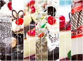 collage of photos of sweet cakes close-up