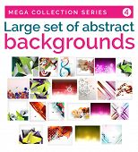 Mega set of abstract backgrounds - ornaments, geometric shapes, Christmas snowflakes, 3d triangles, shadow autumn and wave templates