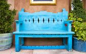 image of bench  - Antique Wooden Bench Outside of a Gallery in Santa Fe NM - JPG