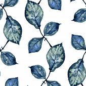 seamless pattern with blue leaves