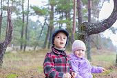 Children Two Brother Sister Together Forest Outdoor