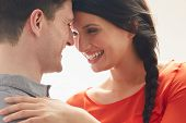 Romantic Couple Embracing Indoors