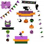 happy halloween set with owl, cat, ghost, skulls