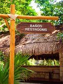 Restrooms Signpost