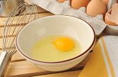 image of yoke  - An organic brown egg in a mixing bowl with a wire whisk
