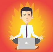 businessman meditating with notebook - flat design vector
