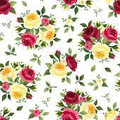 image of english rose  - Vector vintage seamless pattern with red and yellow English roses - JPG