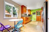 Kitchen Room With Bright Green Wall