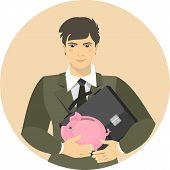 Businessman With A Piggy Bank And A Portfolio.eps