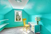 Bright Turquoise Room With Desk And Chair