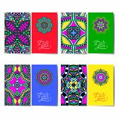 collection of ornamental floral business cards, oriental pattern