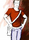 Young handsome man in a casual dress - vector illustration