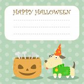 picture of debonair  - halloween pumpkin dog party postcard bones holidays - JPG