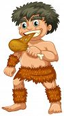Illustration of a close up caveman eating