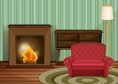 Illustration of a living room with fireplace