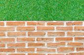 Orange Brick Wall Background With Green Grass