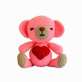 Handmade Crochet Pink Bear Doll