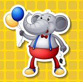 Illustration of a single elephant with balloons