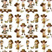 Illustration of a seamless children in safari clothes
