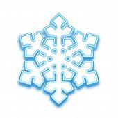 Vector illustration of three-demention snowflake