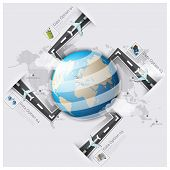 Road And Street Runway Travel And Journey World Map Business Infographic
