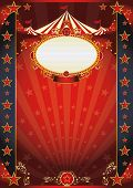 circus red and night fantastic poster. A retro circus poster with sunbeams for your show.