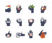 Hands Icon Set For Website Or Application. Flat Design