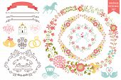 Vintage wedding set.Floral wreath,icons, swirling border