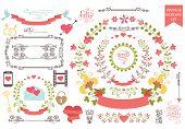Vintage wedding set.Floral wreath,icons, swirling border,hearts