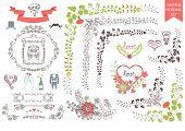 Vintage wedding set.Floral decor,icons, swirling border