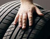 Car service. A  wheel from a car