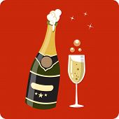 stock photo of bing  - Bottle and Glass of Champagne 