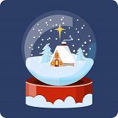 Winter Scene in a Snow Globe