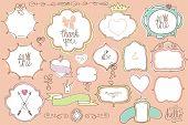 Doodle colored  labels, badges,frame,decor element.Love set
