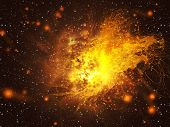 Exploding Of Star In Space
