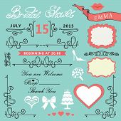 Bridal shower design elements set